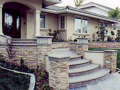 brick or stone front walkways | Brick Stairs Design on Stone Brick Concrete Wood