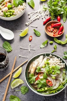 This easy vegan pho recipe is the ultimate in comfort food. A delicious gluten-free spin o This easy vegan pho recipe is the ultimate in comfort food. A delicious gluten-free spin on the classic Vietnamese noodle soup. Best Vegetarian Recipes, Raw Food Recipes, Asian Recipes, Vegan Vegetarian, Soup Recipes, Healthy Recipes, Vegan Pho Soup Recipe, Vegan Stew, Vegan Soups