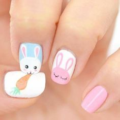 Need some spring nail art inspo for Easter weekend? Get busy with a DIY manicure this Bank Holiday, with our inspiration ideas for Spring and Easter nail art. Nail Art Designs, Easter Nail Designs, Easter Nail Art, Nails Design, Cute Nail Art, Cute Nails, My Nails, Nail Art Halloween, Holiday Nail Art