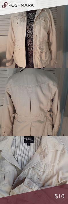 Cream Cargo Jacket Nice detailing. Good condition. B Moss Jackets & Coats Utility Jackets