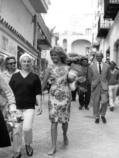 Brigitte Bardot on the set of Le Mepris, filmed in Capri. Here she is walking towards Via Camerelle