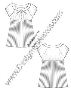 Accordion Pleated Baby Doll Top Flat Fashion Sketch V33 Free In Adobe