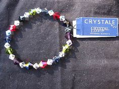 "NEW W/Tags Swarovski  6.35mm  Multi-Color Crystal Stretch Beaded Bracelet  7"" - http://elegant.designerjewelrygalleria.com/swarovski/new-wtags-swarovski-6-35mm-multi-color-crystal-stretch-beaded-bracelet-7/"