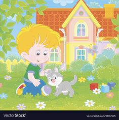 Little boy with a grey kitten on a lawn vector image on VectorStock A Cartoon, Cartoon Styles, Summer Days, Summer Time, Grey Kitten, Small Cat, Single Image, Sport Cars, Kids Playing