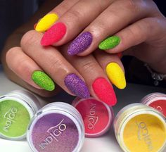 Neon Mermaid Effect by Justyna Maris #nails #nail #nailsart #indigonails #indigo #hotnails #summernails #springnails #omgnails #amazingnails #gelpolish #inspiration #effectnails #pinknails #pink #neon #meramid #yellow #green