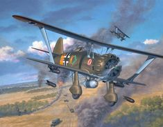 hs 123 | HS-123 artwork showing the aircraft on the Russsian front.