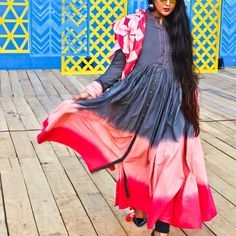 #AIFWSS18 #OOTD Bringing ombré trend to the silhouettes of a floor length Anarkali. The colour amalgamation, the button down embellishment, the #dyed dupatta with #tasselled decor and of course the voluminous #skirt were all in harmony to grab me many compliments throughout the day.  .  .  .  .  .  .  .  .  .  .  .  .  #lotd #indianwear #indianfashionblogger #indianfashion #indianfabric #fashionblog #style #instago...