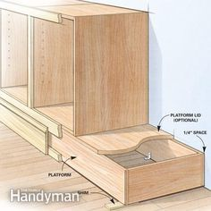 Shortcuts for Custom Cabinets and Built-Ins - from The Family Handyman DIY built ins such as built-in cabinets, bookcases, and shelving are faster, easier and better with these tips from a veteran cabinetmaker. Diy Kitchen Cabinets, Built In Cabinets, Custom Cabinets, Storage Cabinets, Base Cabinets, Plywood Cabinets, How To Make Kitchen Cabinets, Kitchen Ideas, Kitchen Decor