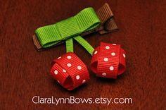 Sweet Red Cherries Ribbon Sculpture Hair Bow – New to Clara Lynn Bows Find me on… - Easy Hair Styles Ribbon Hair Bows, Diy Hair Bows, Red Ribbon, Baby Hair Clips, Baby Headbands, Barrettes, Hairbows, Hair Bow Tutorial, Ribbon Art