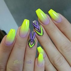 Beautiful nails, Geometric nails, Gradient nails 2016, Ideas of ombre nails, mix match nails, Stylish nails, Summer nails 2019, Summer nails to the sea