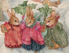 Three bunnies winter watercolor