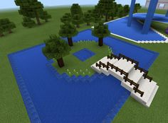Minecraft Bridge and Garden and Pond