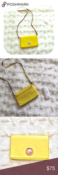 AUTHENTIC Kate spade cross body yellow bag In great condition. Only worn sigh is on the metal button. Perfect color for summer. kate spade Bags Crossbody Bags
