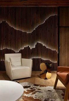 Awesome lighting wall art ideas to beautify your indoor and outdoor - Decoration For Home Interior Exterior, Interior Walls, Interior Architecture, Interior Livingroom, Luxury Interior, Interior Ideas, Wooden Screen, Interior Minimalista, Wall Cladding