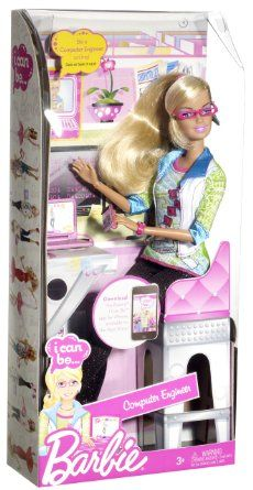 """Barbie I Can Be Computer Engineer Barbie Doll: Toys & Games I don't like the """"I can be"""" as if there was ever any doubt. Why not """"I'm a Computer Engineer"""" instead"""