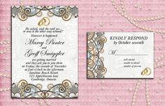 Printable Elegant Flowers Rings Wedding Invitation by StudioDMD
