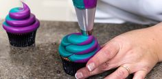 Swirling icing on a cupcake