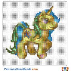 Mi Pequeño Pony plantilla hama bead. Descarga una amplia gama de patrones en formato PDF en www.patroneshamabeads.com