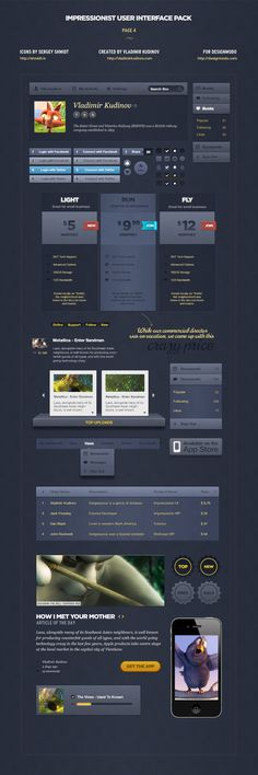 Impressionist User Interface Pack by Vladimir Kudinov, via Behance