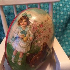 88-Year-Old Vintage German Paper Mache Easter Egg Candy Container