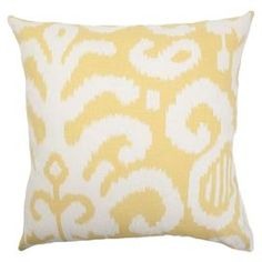 """Add a splash of color to your living room with this ikat-print throw pillow, showcasing a cotton cover in citrus yellow and a plush down insert.    Product: PillowConstruction Material: Cotton cover and 95/5 down fillColor: CitrusFeatures:  Hidden zipper closureMade in BostonAll four sides have a clean knife-edge finishReversible pillow with same fabric on both sides Dimensions: 18"""" x 18""""Cleaning and Care: Spot clean"""