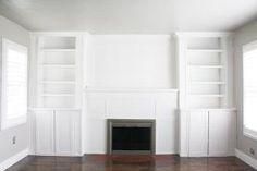 These 23 IKEA BILLY bookcase hacks share how you can transform your home with customized storage that fits your space, style, and budget.: BILLY Fireplace Built-in Hack