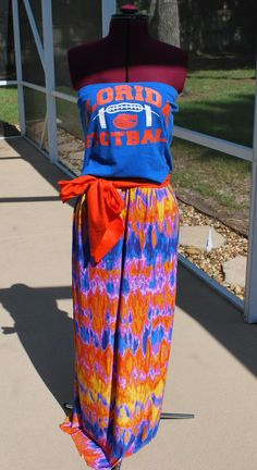 University of Florida Gators Upcycled Shirt Made into Strapless Maxi Dress with Tie Waist Sash Ready to ship size Small by gamedaychicflorida on Etsy
