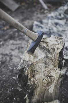 """#axe post maul takemetothemtns:  troy & i heat our place with wood. """"chop your own wood and it will warm you twice"""""""