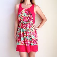 red floral dress offers welcome size small pinkish red dress with floral print and elastic waist. •681046• Everly Dresses Mini