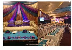 Indian Wedding Stage Feature and Stunning Ceiling draping in beautiful rich fabrics