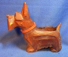 Vintage German Wood Carved Dog Figurine Match Stick Holder #E