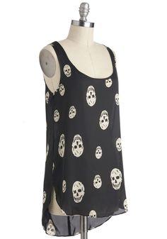 Skull-lastic Looks Top - Black, Casual, Urban, Sleeveless, Sheer, White, Novelty Print, Mid-length