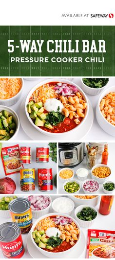 Create game day party perfection with the help of this Chili Bar idea. With a tasty chili base made using BUSH'S® Mild Pinto Chili Beans, McCormick® Chili Seasoning Mix, and Hunt's® Tomato Paste, this dish can tackle your taste buds with classic chi Pressure Cooker Chili, Pressure Cooker Recipes, Chili Bar Party, Chili Instant Pot Recipe, Chili Seasoning Mix, Hot Dog Chili, Chili Ingredients, No Bean Chili, Game Day Food