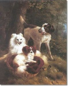 Painting by the famous Dutch Henriëtte Ronner-Knip (1821-1909) called 2 dogs and a hunting dog. The first dog is clearly a Papillon, the others a Keeshound and a Pointer.