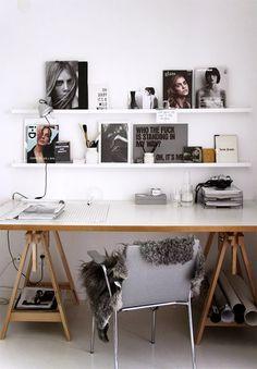 desk with sawhorse legs in modern home office / sfgirlbybay