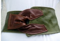 Green and Brown Distressed Leather Belt by ElegantElementsOnlin, $165.00