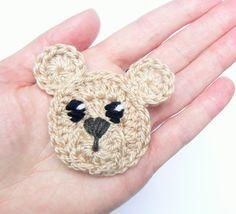 Crochet Bear Applique Set of Woodland Animals Crochet Animals Teddy Bear Applique Animal Motifs Sewn on Applique Kids Clothing Crochet Bear, Crochet Baby Hats, Bead Crochet, Crochet Animals, Baby Knitting, Knitting Hats, Crochet Teddy, Blanket Crochet, Crochet Gifts