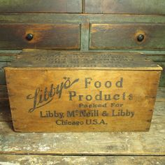 Early Old LIBBY'S Food Products Wooden Advertising Crate Box w. Lid #HannahsHouseAntiques #Primitives http://www.rubylane.com/item/497177-9409/Early-LIBBYx27S-Food-Products-Wooden-Advertising