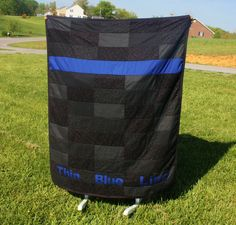 Police LEO Thin Blue Line Quilt by PinkElephantQuilts on Etsy, $125.00