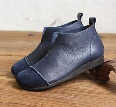 Handmade Blue Women BootiesOxford Ankle Boots Flat Shoes