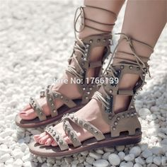 92.40$  Watch now - http://ali7s8.worldwells.pw/go.php?t=32787876414 - Suede Gladiator Sandals Full Rivets Lace Up Flats Summer Boots Rome Punk Style Casual Flat Shoes Woman Sandalias Mujer 92.40$