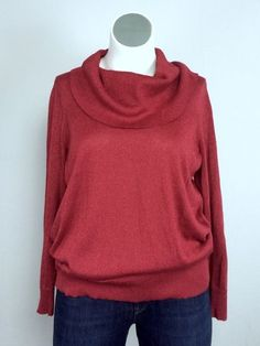 Michael Kors 1X Red Glitter Cotton Stretch Blend Knit Cowl Neck Sweater Plus Sz #MichaelKors #CowlNeck