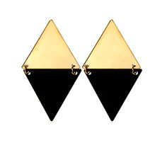 Black Gold earrings- the perfect addition to a classic look- pair with a white shirt and blue skinny jeans for monochromatic magic