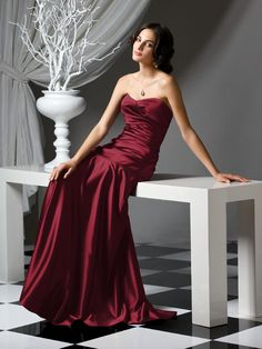 long red bridesmaid dress