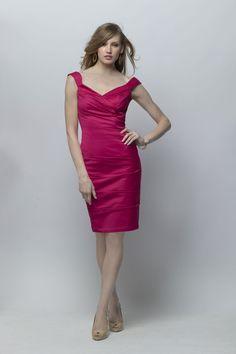 Passion Fruit Off-the-shoulder Deep V-neck Knee Length Sheath Bridesmaid Dress