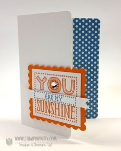 SU! You Are My Sunshine stamp; Polka Dot Parade DSP in Marina Mist; Pumpkin Pie and Marina Mist ink; Scallop Squares Duo Bigz Die - Mary Fish