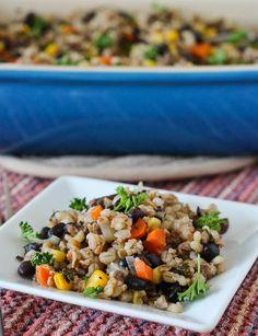 Vegan Barley and Bulgar Casserole - an easy lunch idea! Get it on RachelCooks.com