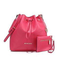 Michael Kors Jules Drawstring Leather Medium Pink Shoulder Bags