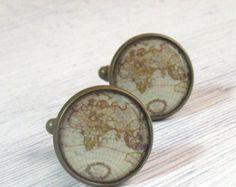 carte du monde des boutons de manchette - Plan anciennes boutons de manchette - Boutons de manchette en bronze antiques