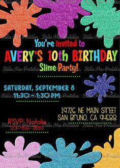 Slime Birthday Party Invitation